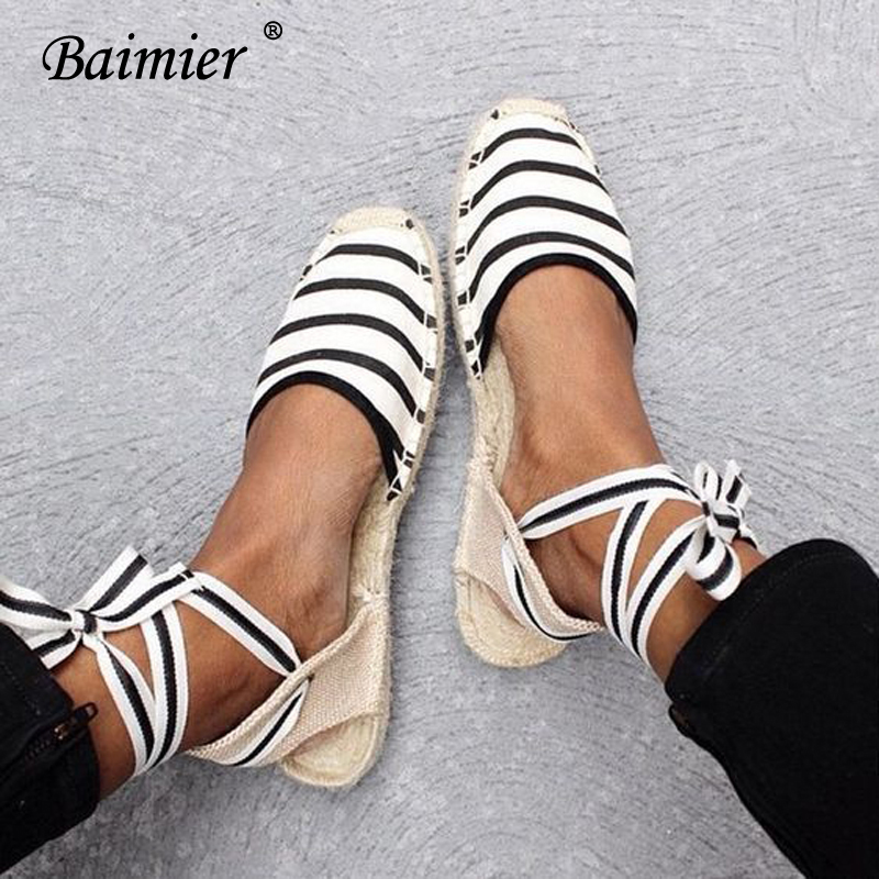 Baimier 2018 Sommer Leinwand Frauen Espadrilles Ankle Strap Plattform Sandalen Mediterranen Stil Streifen Lace Up Frauen Flache Sandalen