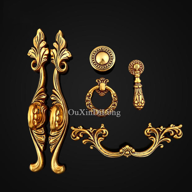 Hot 5Pair or 10PCS European Antique Kitchen Door Furniture Handles Retro Cupboard Drawer Wardrobe Cabinet Pulls Handles & Knobs