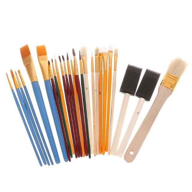 1 Juego de 25 piezas de pincel de pintura profesional conjunto de Aceite de Pelo de nailon acuarela pluma suministros de arte nuevo caliente