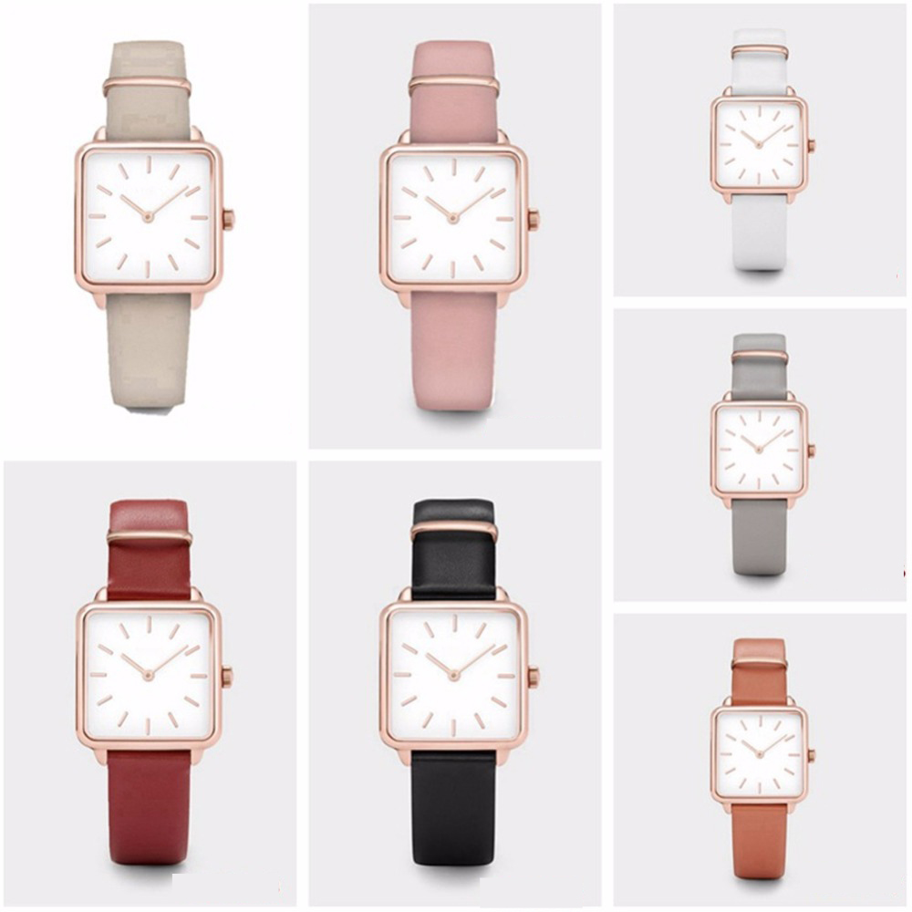Square Dial Leather Band Quartz Watch Classic Female Super Thin Case Wristband Watch Birthday Gift For Women Girls 21 Colors