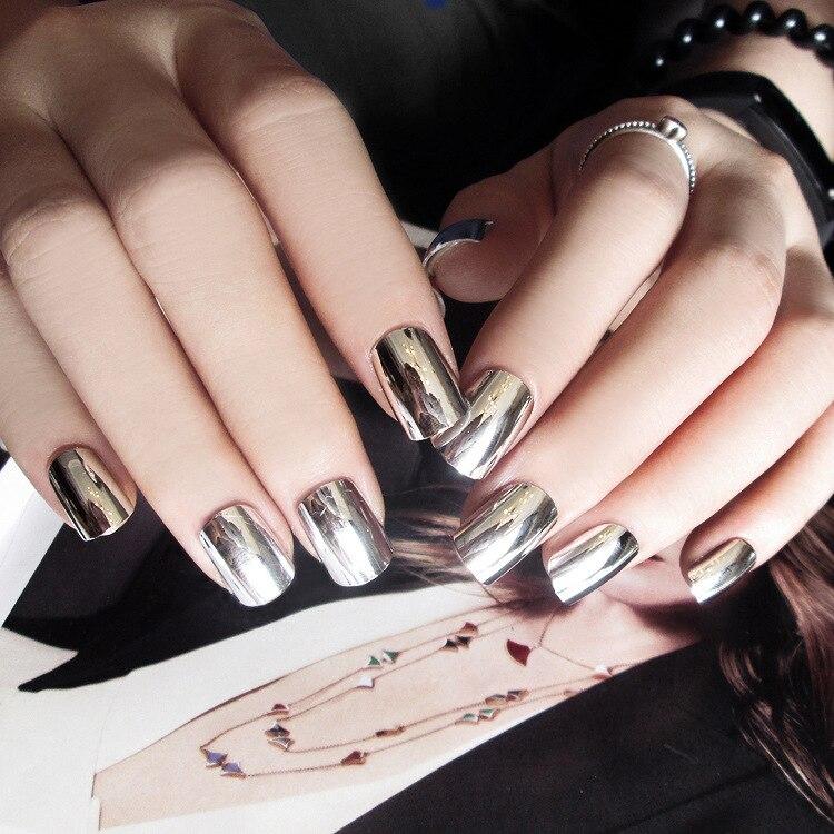 New Sale 24pcs/set finished manicure false nails fingernails silver ...