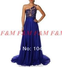 2014 neue Mode Sexy Chiffon Royal Blue Schulter Spitze Applique Lange Abendkleider Mit Schal F & M787