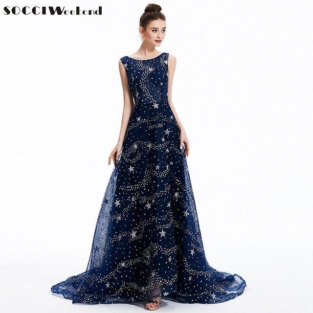 SOCCI Navy BLUE Long Evening Dresses Formal Wedding Party Dress ...