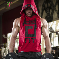 2017 Brand Stretchy Sleeveless Shirt Casual Fashion Hooded Gyms Tank Top Men Bodybuilding Fitness Clothing