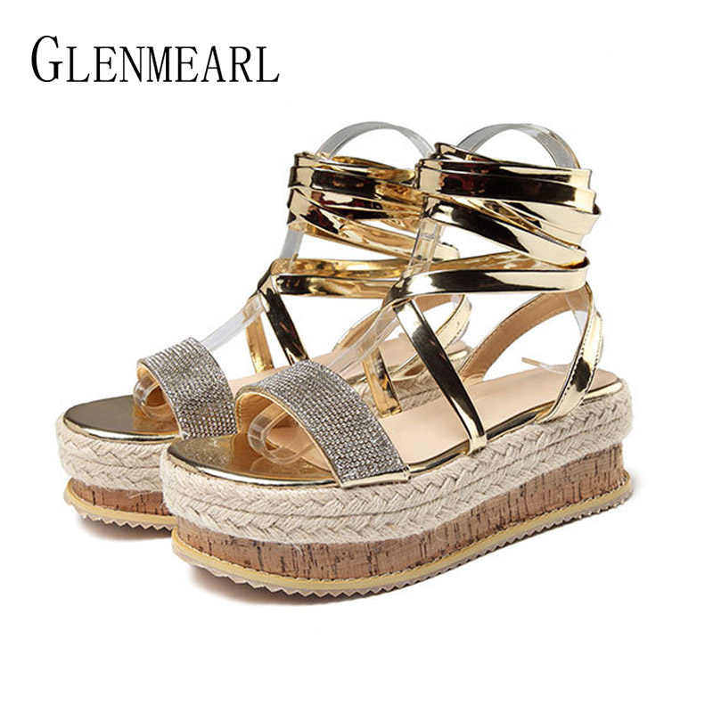 99cc1b6d829 Women Sandals Summer Shoes Platform Wedges Shoes Lace Up Ankle Strap  Gladiator Sandals Peep Toes Plus Size Casual Shoes Beach DE
