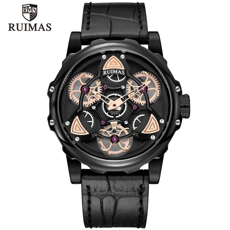 Montre homme RUIMAS montre-bracelet créative Gentleman horloge rotation bracelet en cuir noir montre-bracelet horloge Relogio Masculino erkek kol