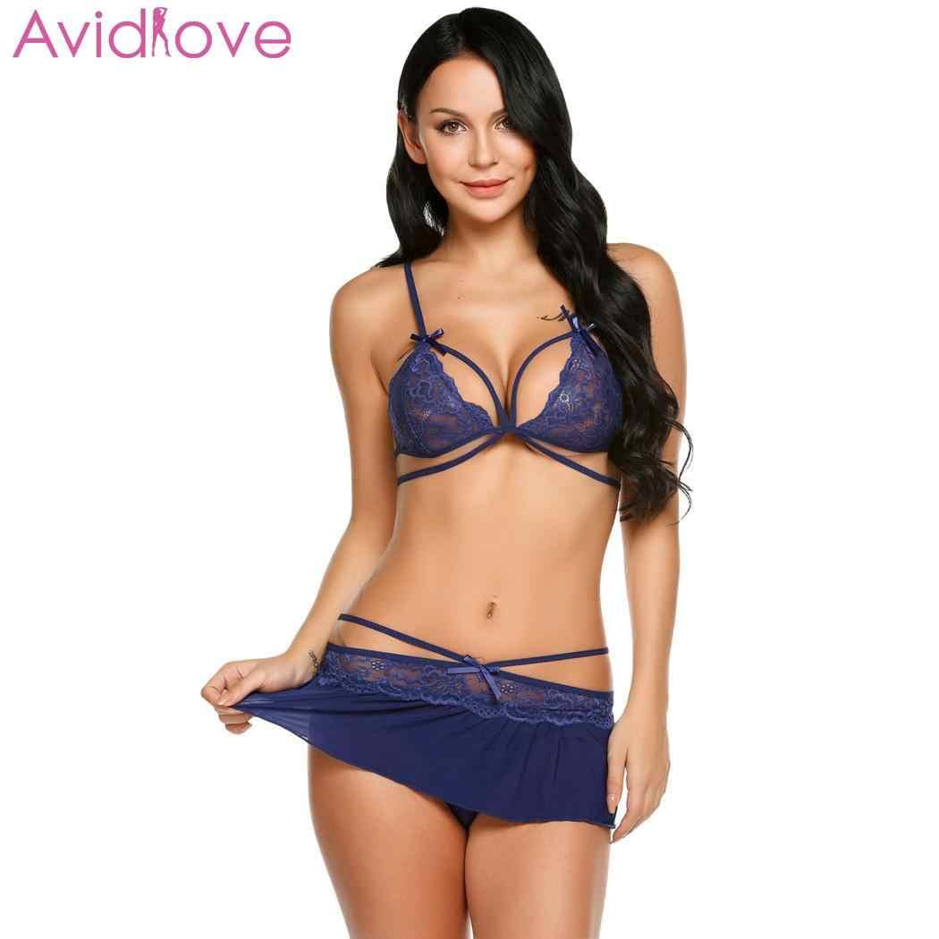 f92b6c7e6e6 ... Avidlove Women Sleepwear Sexy Lingerie Set Lingerie Lace with G-string  Bra Mini Sheer Skirt ...