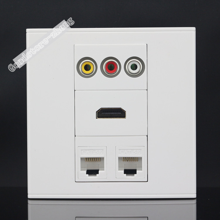 Wall Socket Plate 4 Ports 2 Ports CAT5E Network LAN & HDMI & 3RCA AV Port Panel Faceplate Outlet Connector Adapter Wholesale цена 2016