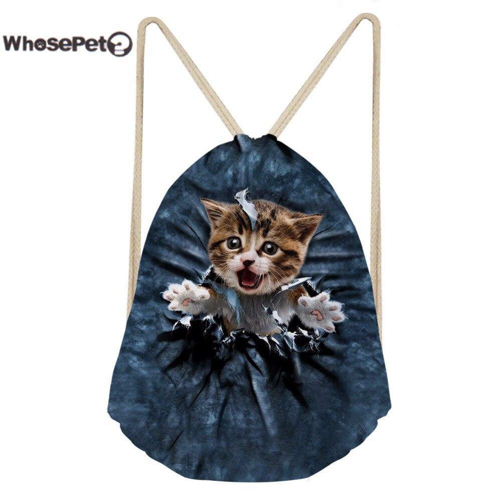04b79c53adcb Whosepet ежедневно Рюкзаки drawstring сумка маленькие дети милые мультфильм  печати кошка Сумки для детей Обувь для мальчиков Обувь для девочек плеч.