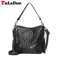 Fashion Fringe Tassel Handbag Women Bucket Bag Designer Genuine Leather Tote Bag Small Sheepskin Rivet Shoulder Bag Patchwork