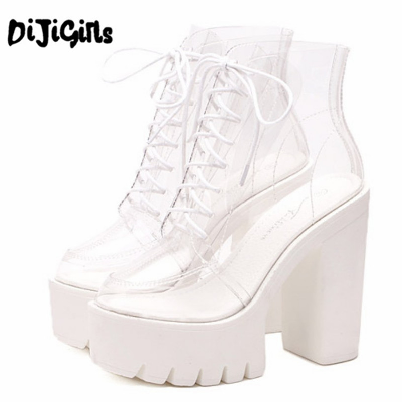super high heels thick soles bottom Perspex clear transparent ankle boots female Platform anti slip boots casual shoes Plus Size queen style 22cm super high thick soles round toe metal heels big yards 8 5 15 5
