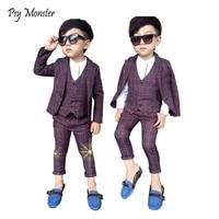 2018 New Boys 3PCS Plaid Formal Prom Wedding School Suit Vest+Coat+Pants Brand Children Party Tuxedos Performance Wear for Boys