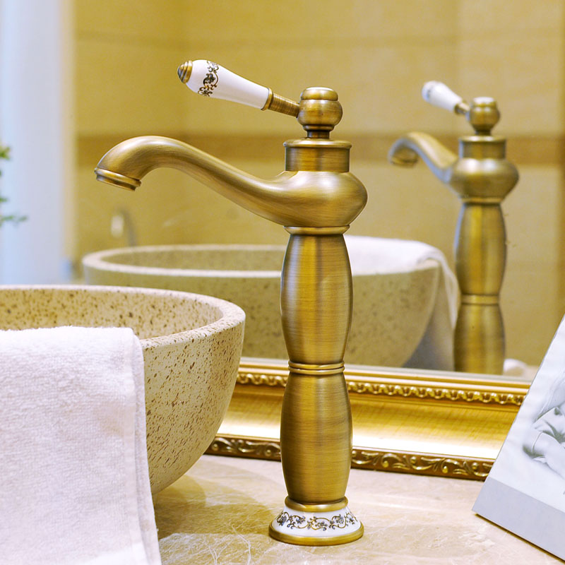 Antique Kitchen Faucets Bronze Brushed Basin Faucet Single Ceramic Single Handle Single Hole Sink Mixer Hot Cold Deck MountedAntique Kitchen Faucets Bronze Brushed Basin Faucet Single Ceramic Single Handle Single Hole Sink Mixer Hot Cold Deck Mounted