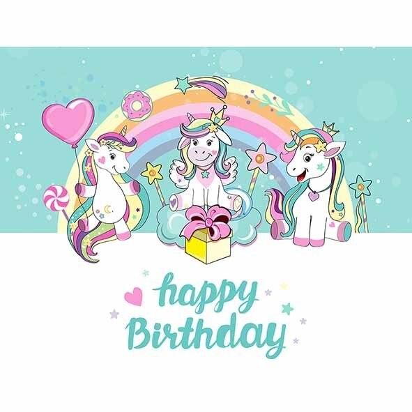Unicorn Birthday Professional Background
