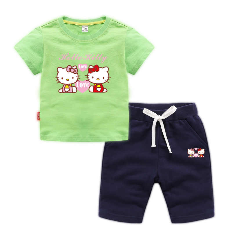 78e473b5c ... 2019 children's girls clothing suit summer hello kitty cute shirt +  pants two-piece clothing ...