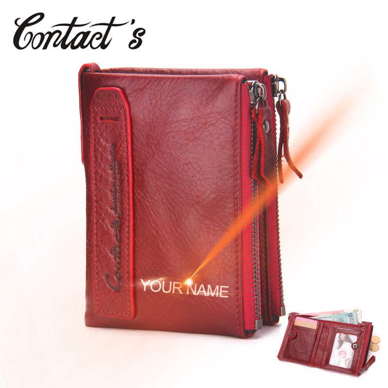 Portefeuille en cuir véritable femmes marque de luxe Double-fermeture éclair petit porte-monnaie femme classique sac d'argent avec porte-carte gratuit graveur