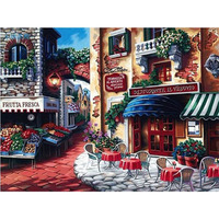 1Set Romantic Beautiful Town Digital DIY Painting By Numbers Calligraphy Canvas Pictures For Living Room Wall