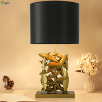Modern Lustre Copper Metal Led Table Lamp Fabric Shades Bedroom Led Table Lights Fixtures Living Room Led Table Light Desk Lamp