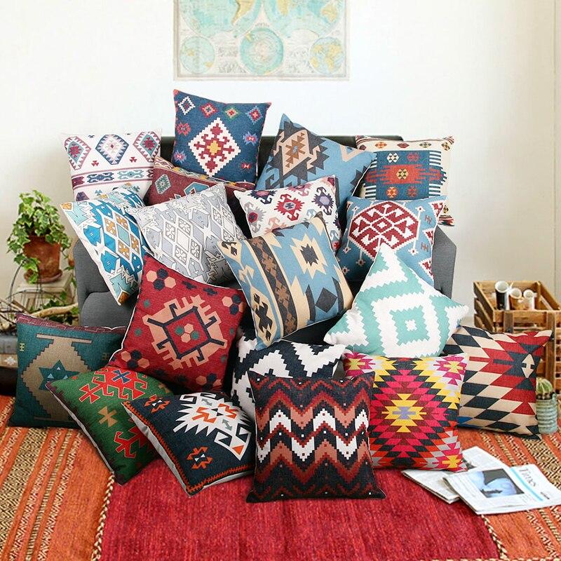 Enipate Kilim Geometric Pillow Cover Bohemia Cushion Cover Cotton Linen Throw Pillow Car Home Sofa Decorative Pillowcase 45*45cm