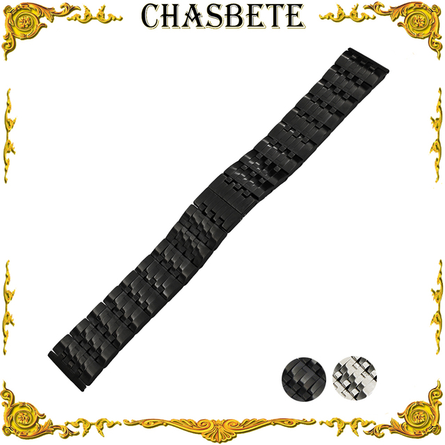 f277159ab8b 22mm Stainless Steel Watch Band for AP Audemars Piguet Metal Strap Wrist  Loop Belt Bracelet Black Silver Men Women + Spring Bar