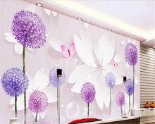 beibehang Modern simple three-dimensional thicker papel de parede 3d wallpaper romantic dandelion 3D TV background papier peint
