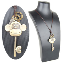 Vintage Necklace Cute Big Mouth Monkey Pendant Men Women Animal Love Heart Key Retro Gothic Boho Long Leather Chain Punk Jewelry