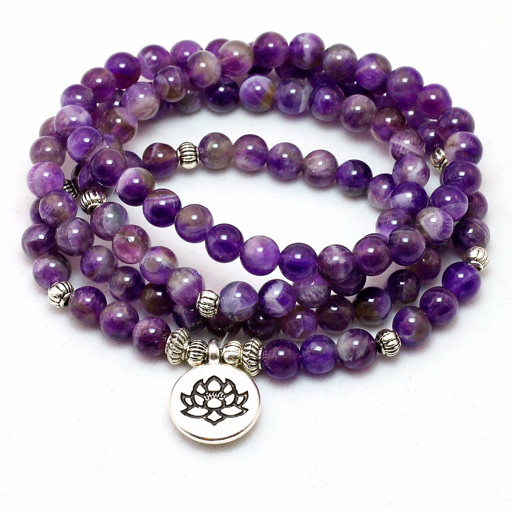 Natürliche Lila Kristall Chakra 108 Buddha Mala Armband oder Halskette Yoga Mala Stein Armband für Frauen Lotus Schmuck