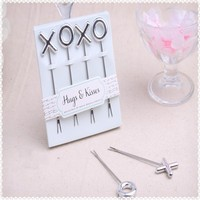 50pcs/lot XOXO Stainless Steel Fruit Forks Wedding Favors Festive Gifts For Guests Wedding Souvenirs Event & Party Supplies