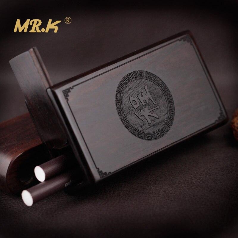Boîte à cigarettes en bois de rose de bois de santal noir un cadeau classique de boîte à cigarettes d'adsorption d'aimant poli à la main