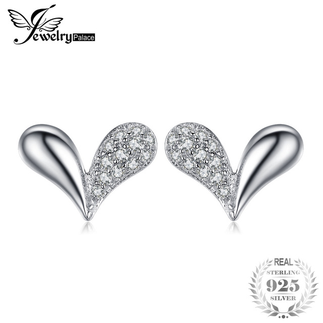 JewelryPalace Heart Charm Cubic Zirconia Stud Earrings 925 Sterling Silver Speci