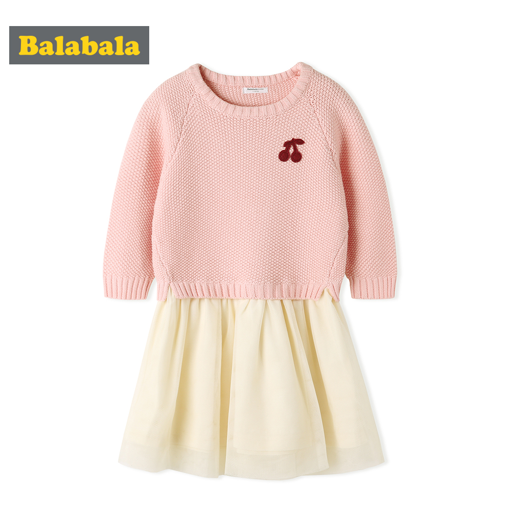 Balabala casual dress autumn clothing for toddler girl Long Sleeve sweater with mesh patchwork cute dresses for Girls все цены