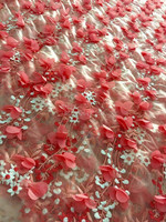 New Peach/off white/ beige/Red wine/pink 3D flowers bridal evinging show dress lace fabric 51'' width