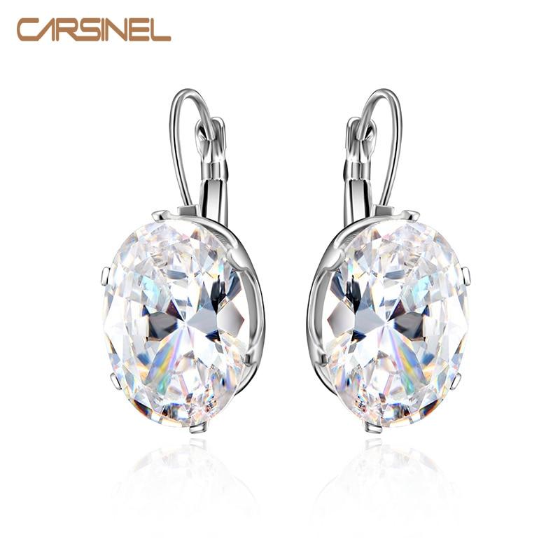 CARSINEL 5 Colors Big Oval Zircon Hoop Earrings For Women Fashion 13*18mm CZ Indian Fringe Circle Earing Bijoux Girls Gifts