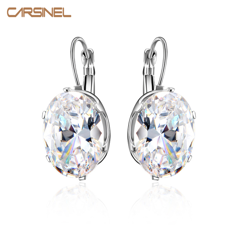 CARSINEL Silver color Big Oval Zircon Hoop Earrings for Women Fashion Austrian Crystal 1 ...