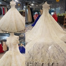 2e40f30806 2018 New Pattern Bride One Word Shoulder Korean Thin Concise Luxurious  Tailing Pregnant Woman Wedding Dress