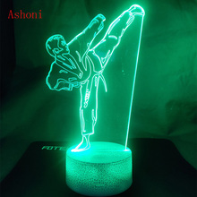 Creative Karate Shap Table Lamp USB 3D LED Taekwondo Night Light  Bedroom Bedside Martial Art Vision Lighting Kids Gifts Toy