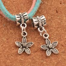 Lilac Flower Charm Beads 100PCS Antique Silver Dangle Fit European Bracelets Jewelry DIY B321 10.6x24.6mm frog charm beads 30 8x15 6mm 100pcs antique silver dangle fit european bracelets jewelry diy b167