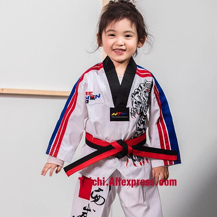 Martial Arts Tae Kwon Do Children Taekwondo Uinform For Poomsae & Training,WTF Uniform,110-155cm White Color Tiger EmbroideryMartial Arts Tae Kwon Do Children Taekwondo Uinform For Poomsae & Training,WTF Uniform,110-155cm White Color Tiger Embroidery