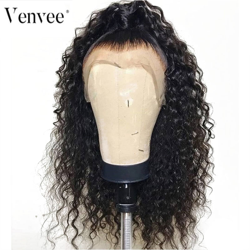 Venvee Wigs Human-Hair Full-Lace-Wig Transparent Curly Women with 150/180-250/Curly