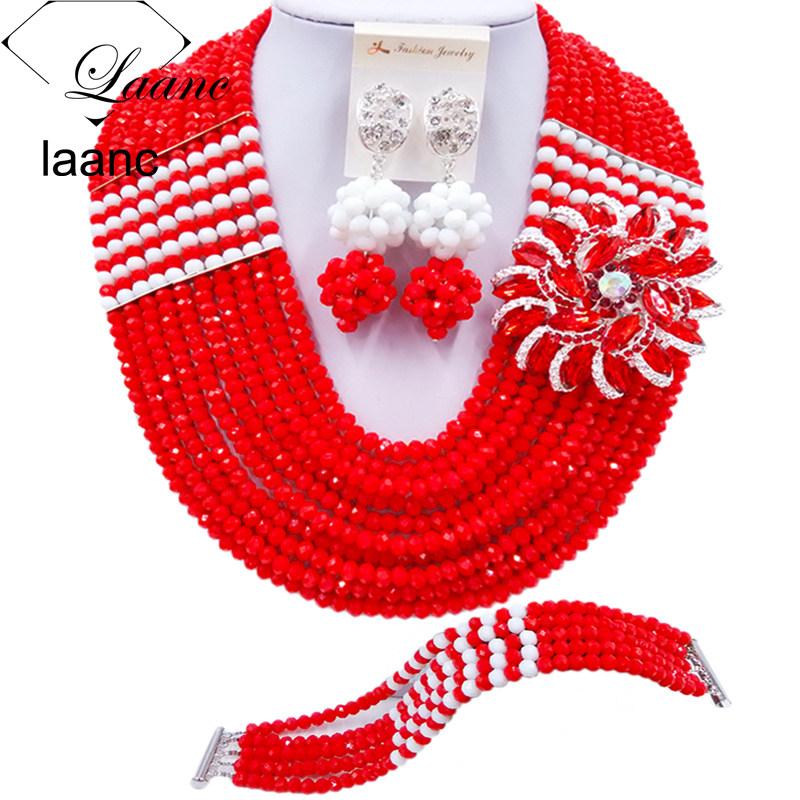 Laanc Opaque Red and White African Beads Bridal Crystal Jewelry Set Women Nigerian Wedding Necklace C22P048Laanc Opaque Red and White African Beads Bridal Crystal Jewelry Set Women Nigerian Wedding Necklace C22P048
