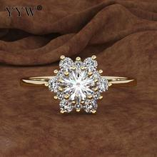 Luxury Female Snowflake Ring Fashion zinc alloy Yellow Rose Gold Color Crystal Zircon Stone Ring Vintage Wedding Rings For Women vintage chic diamante solid rose embellished alloy ring for women