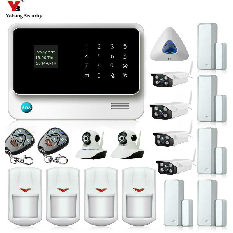 Yobang Security WIFI GSM Wireless GSM GPRS SMS Alarm Security System IOS/Android Outdoor/Indoor Cameras Surveillance System Kits yobang security wireless wired gsm wifi intelligent security system indoor outdoor camera surveillance home security alarm kits