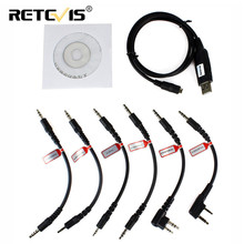 Retevis 6-in-1 USB Programming Cable Multi-function Interphone for Kenwood Motorola Walkie-Talkie Accessories
