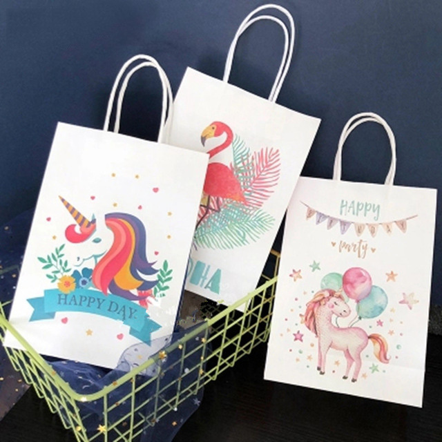 6pcs Unicorn Paper Gift Bag Flamingo Candy Bag Packing Pouches With Handle For Birthday Wedding Christmas Party Return Gift Bag