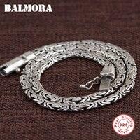 Балмора 100% реальные 925 пробы Серебряные ювелирные изделия цепи Цепочки и ожерелья s для Для мужчин тайский серебряный Цепочки и ожерелья 18 22
