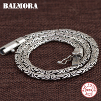 BALMORA 100 Real 925 Sterling Silver Jewelry Chains Necklaces For Men Thai Silver Necklace 18 22