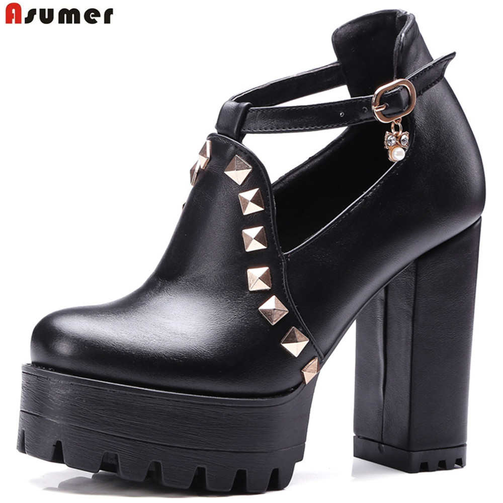 ASUMER black white fashion spring autumn new big size 33-43 buckle rivet platform women high heels shoes round toe big size high heels round toe women platform shoes cool casual white lace wedge black creepers medium pumps mesh chinese fashion