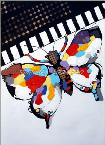 И Высококачественная ручная роспись настенная абстрактная картина маслом бабочка и фортепиано Современное украшение дома