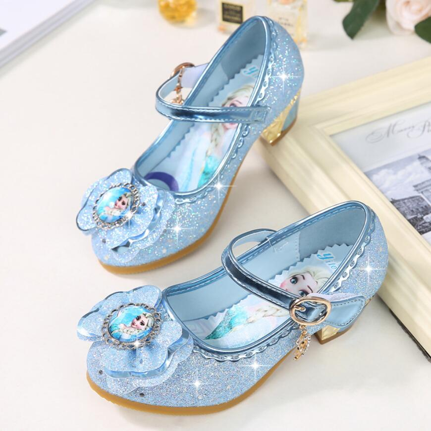 KKABBYII Girls Sandals Elsa Princess Shoes Elegant Dance Party Wedding Shoes Chaussure Enfants Blue Pink Violet elsa shoes сандалии