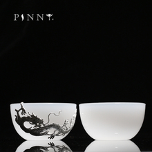 PINNY 85ML Jade China With Silver Master Teacups Dragon And Phoenix Decoration Tea Cups Chinese Kung Fu Drinkware